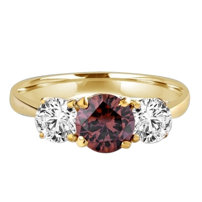 Diamond Essence Three stone Ring with 1.0 ct. round Chocolate Essence center and 0.5 ct. Round Brilliant stones on each side, 2.0 Cts. T.W. set in 14K Solid Yellow Gold.