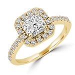 Diamond Essence Designer Ring with 1.25 ct. Asscher cut center stone surrounded by round stones. 1.75 cts. T.W. set in 14K Solid Yellow Gold.