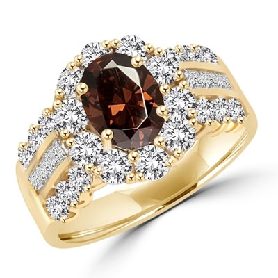 Diamond Essence Designer Ring with 1.0 ct. Oval cut Chocolate center surrounded by round stones and three rows of Diamond Essence stones, Princess in middle and Round on each side. 4.00 cts. T.W. set in 14K Solid Yellow Gold.