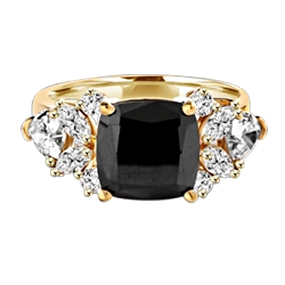Diamond Essence Designer ring with 4.0 ct. Onyx center with round, marquies and heart shaped stones on each side, 6.5 cts. T.W. set in 14K Solid Yellow Gold.