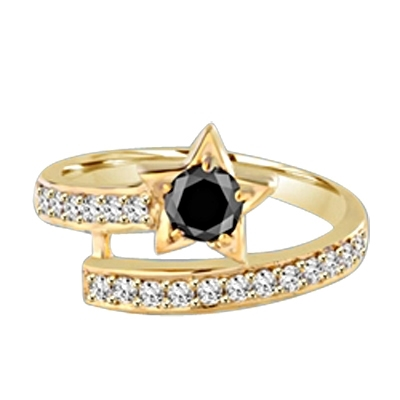 Diamond Essence Designer ring with 0.5 ct. round Onyx center with round stone on band, 1.0 ct. T.W. set in 14K Solid Yellow Gold.