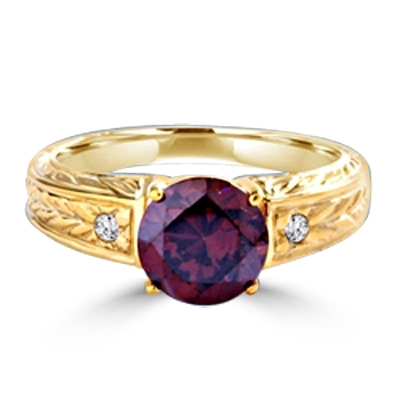 Diamond Essence Designer Ring with 2.0 ct. Chocolate stone in center with a round stone on each side the band. 2.10 cts. T.w. set in 14K Solid Yellow Gold.