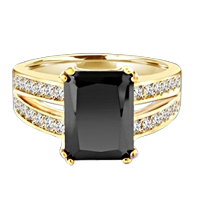 Diamond Essence Designer ring with 5.0 ct. Onyx stone in center with two rows of round stone on each side of the band, 5.50 Cts. T.W. set in 14K Solid Yellow Gold.