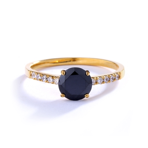 Diamond Essence Designer ring with 1.0 Ct. Onyx stone in center with round stone on the band. 1.10 Cts. T.W. set in 14K Solid Yellow Gold.