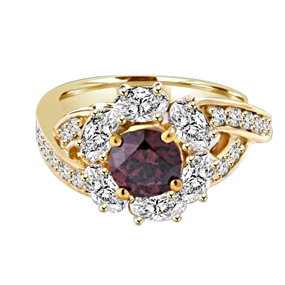 Diamond Essence Designer Ring with 1.0 ct. round Chocolate stone in center, surrounded by Oval stone and small round stones on each side of band. 3 cts. T.W. set in 14K Solid Yellow Gold.