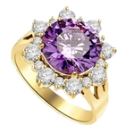 Designer Ring with Round Amethyst Essence in center surrounded by Round Brilliant Diamond Essence and Melee. 4.5 Cts. T.W. set in 14K solid Yellow Gold.