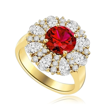 Diamond and Ruby Ring - Outstanding Ring with 2.0 cts. Round Ruby Essence in Center surrounded by Pear cut Diamond Essence and Melee. 5.5 Cts. T.W. set in 14K Solid Yellow Gold.
