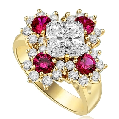 Designer Ring With Asscher cut Diamond Essence in center surrounded by Floral Design created with Round Ruby Essence and Melee. 6.0 Cts. T.W. set in 14K Solid Yellow Gold.