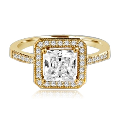 Princess cut Diamond Essence centerpiece,surrounded by Round Brilliant Melee in this pretty Engagement Ring. 2.0 Cts. T.W. set in 14K solid Yellow Gold.