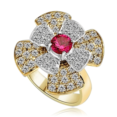 Stack of flowers - 0.65 Ct. Round Ruby Essence set in center of floral design Melee setting. 3.0Cts. T.W. set in 14K Solid Yellow Gold.