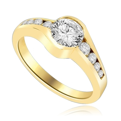 Designer Ring with channel set, 1.0 Cts. Round Brilliant Diamond Essence in center accomapnied by graduating melee on either side, 1.30 Cts. T.W. 14K Solid Yellow Gold.