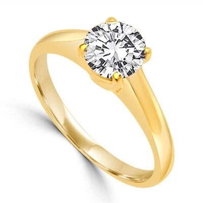 Solitaire Ring in Tiffany Setting - 1.0 Cts. T.W. In 14k Solid Yellow Gold.