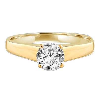 Smart Solitaire Ring with 0.75 Cts. Round Brilliant Masterpiece set perfectly on a tapering wide band. In 14k Solid Yellow Gold.