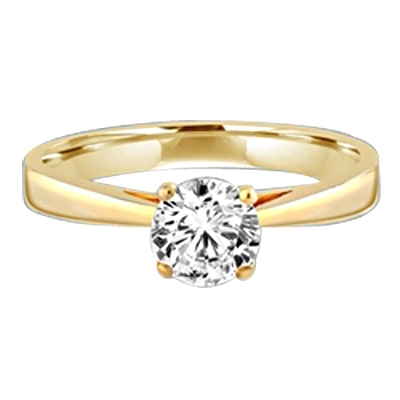 Tiffany Set Solitaire on Wide Band. 0.75 Cts. In 14k Solid Yellow Gold.