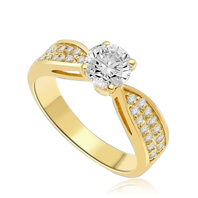 Sexy and Stylish 0.75 Ct. Round Stone Ring with deep channel set round accents on the band. 1.25 Cts. T.W. In 14k Solid Yellow Gold.