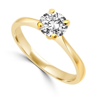 Delicate Darling - 0.75 Ct. Round Cut Brilliant Solitaire Ring to set the heart racing. In 14k Solid yellow Gold.