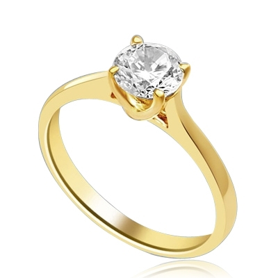 A perfect solitaire to propose! Beautiful Tiffany set 0.75 Ct. Ring. In 14k Solid Yellow Gold.