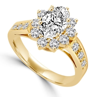Wide Band Flower Ring sparkles with 1.5 Cts. Oval Center and  Round Brilliant Accents and Melee on the band. In 14k Solid Yellow Gold.