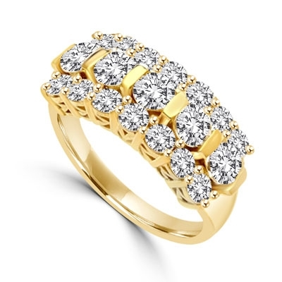 Wide Band Round Sparkles on Display - 2.5 Cts. T.W. In 14k Solid Yellow Gold.