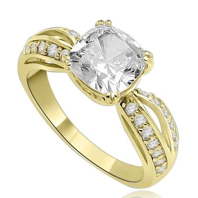 Cushion Cut Tiffany Set Ring - 3.5 Cts. T.W. In 14k Solid Yellow Gold.
