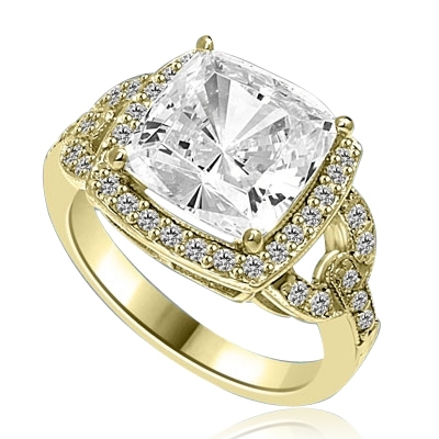 Diamond Essence Ring with Cushion cut Stone and Melee, 4.50 cts.t.w. - GRDKR1126