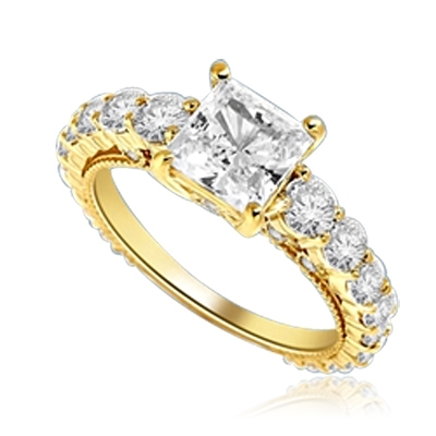 Engagement Ring With Princess Cut Diamond Essence Set in Center accompanied by Round Brilliant Diamond Essence going down the band. 3.25 Cts. T.W. set in 14k solid Yellow Gold.