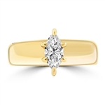 Wide Band Solitaire Ring with 0.75 ct.t.w. of Diamond Essence Marquise cut stone, set in six prongs setting, 14K Solid Gold.
