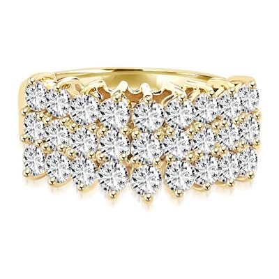 Diamond Essence Ring with three rows of Round Brilliant stones, each 0.10 ct. in Prong setting. 2.70 cts.t.w.in 14K Solid Gold.