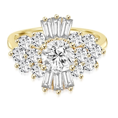 Prong Set Designer Ring with Simulated Round Diamond, Baguettes and Melee by Diamond Essence set in 14K Solid Yellow Gold