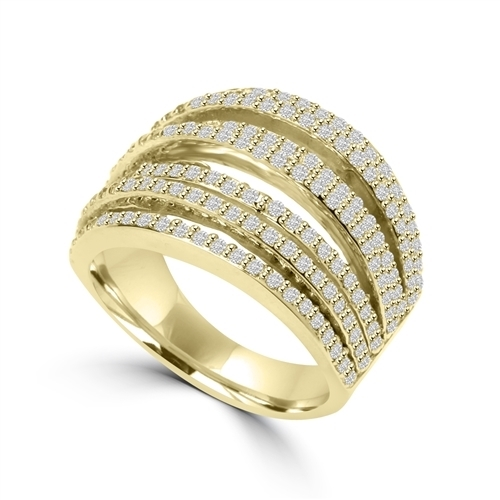 Diamond Essence Ring With Seven Rows of Melee, 1.50 Cts.T.W. In 14K Solid Yellow Gold.