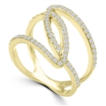 Diamond Essence 1 Ct. Brilliant Melee Set In Interwining, 14K Solid Yellow Designer Setting.