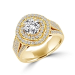 Diamond Essence Designer Ring With Round Brilliant 1 Ct. Center surrounded By Melee, 3 Cts.T. W. In 14K Solid Gold.