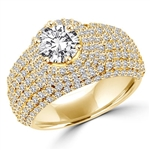 Diamond Essence Designer Cocktail Ring With 1 Ct. Round Brilliant Center Set On Dome Pave Setting Melee, 3 Cts.T.W. In 14K Solid Yellow Gold.