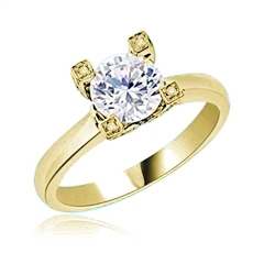 Diamond Essence Designer Solitaire Ring With 1.25 Cts. Round Brilliant Stone Set in Four Prong Setting,1.50 Cts.T.W. in 14K Yellow Gold.