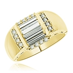 Diamond Essence Designer Ring with Three Baguettes in Center and Melee on all four sides set in 14K Yellow Gold, 1.50Cts.T.W.