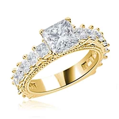 Diamond Essence Designer Ring With 1.50 Cts. Princess in Center, Accompanied by Small Princess Stones Melee on band, 3 Cts.T.W. In 14K Solid Yellow Gold.