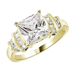 Diamond Essence Designer Ring With 3 Cts. Princess Cut Center Set in Four Prongs, Baguettes and Melee On Each Side,3.50Cts.T.W in 14K Yellow Gold.