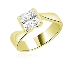 Diamond Essence Solitaire Ring with 1.50 Cts. Princess cut stone set in 14K Yellow Gold.
