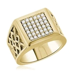 Diamond Essence Ring With 0.40 Cts.T.W. of Diamond Essence Melee set in heavy setting of 14K Solid Yellow Gold.