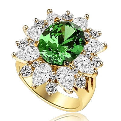 Party Perfect Ring with Sparkling Pear cut and Round cut Diamond Essences around 5.0 Cts. Oval cut Emerald Essence in center, making beautiful floral design. 9.0 Cts. T.W. set in 14K Solid Yellow Gold.