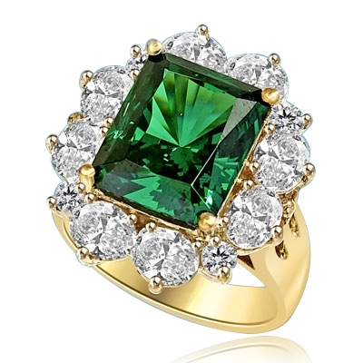 Gorgeous Green - 6.0 Cts. Emerald cut Emerald Essence in center surrounded by Oval cut Diamond Essence and Melee. 9.0 Cts T.W. set in 14K Solid Yellow Gold.