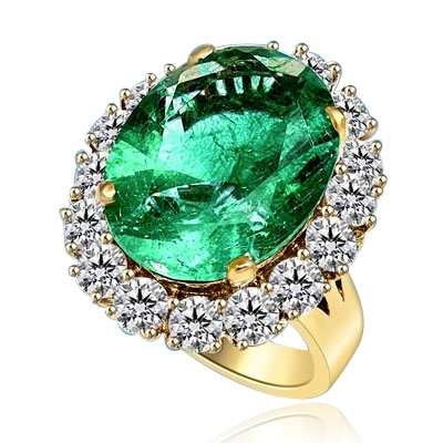 Emerald Ring - 15.0 Cts. Oval cut Emerald Essence in center with Round Brilliant Diamond Essences set all around. 19.0 Cts. T.W. set in 14K Solid Yellow Gold.