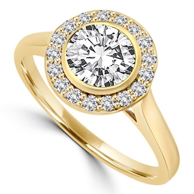 Diamond Essence Ring with 1 Ct. Round Brilliant Stone And Melee Set In 14K Solid Yellow Gold.