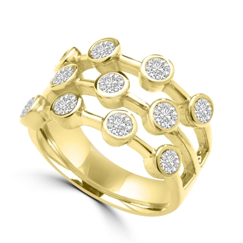Diamond Essence Round Brilliant Ring with 0.20 Ct. Each Set In Bezel Set Designer Bars, 2.20 Cts.T.W. In 14K Solid Yellow Gold.