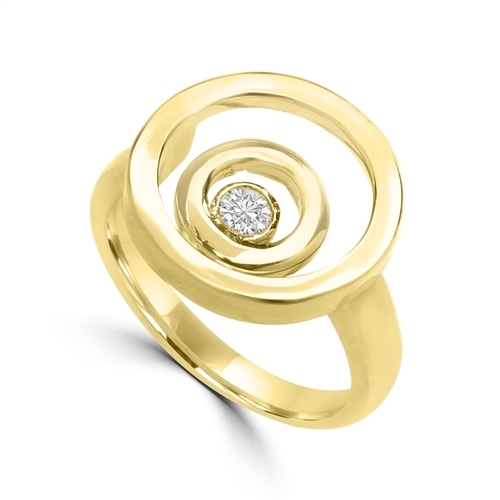 Diamond Essence Ring with 0.20 Ct. Round Brilliant Stone In Bezel Setting, With Three Circle Design, in 14K Solid Yellow Gold.