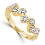 Diamond Essence Ring with 0.20 Ct. Each Round Brilliant Stone In 14K Solid Yellow Gold ZigZag Bezel Setting.