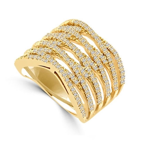 Diamond Essence Designer Cocktail Ring With Brilliant Melee, Set in 14K Solid Yellow Gold CrissCross Setting.