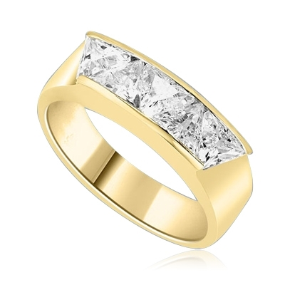Men's Ring with five Chanel set, Triangle cut Diamond Essence. 1.5 Cts T.W. set in 14K Solid Yellow Gold.