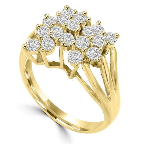 Diamond Essence Designer Ring With 1.70 Cts.T.W. Round Brilliant Stones Set In 14K Solid Yellow Gold.