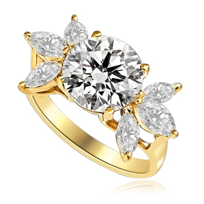 Designer Ring with 3.25 Cts. Round Brilliant Diamond Essence in center accompanied by three Marquise cut Diamond Essences on each side, 3.75 Cts. T.W. set in 14K Solid Yellow Gold.